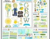 Sow & Grow Bible Journal Bundle Printable PDFs and Over 150 Digital Elements Blues, Greens, Yellow. Bound Bible Journal Prompts