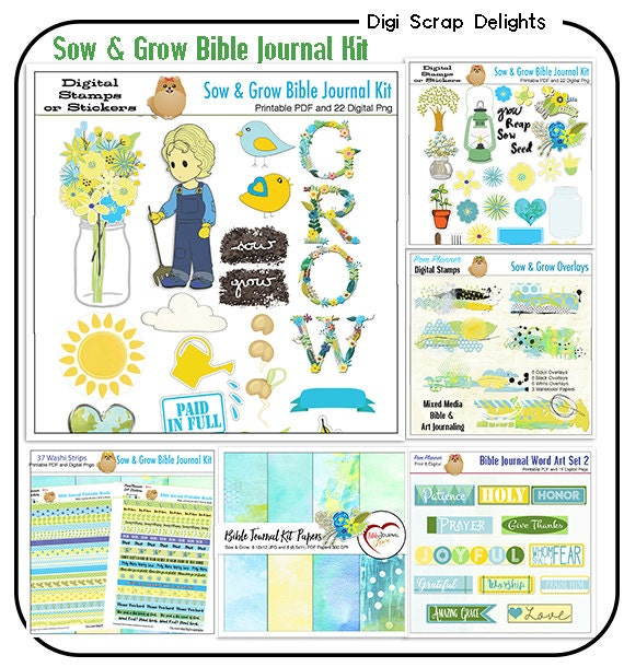 SALE Sow & Grow Bible Journal Bundle Printable PDFs and Over 150 Digital Elements Blues, Greens, Yellow. Bound Bible Journal Prompts