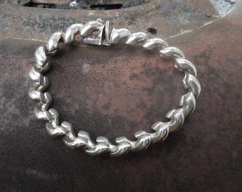 Sterling Silver Bracelet Linked Modernist Modern  22.89 grams Italy
