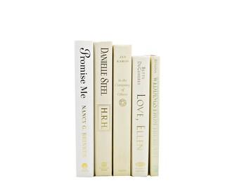 Cream White Books, Ivory Decorative Books, Wedding Decor,Centerpiece, Book Collection Set, Vintage Interior Design, Home  Decor, decorating