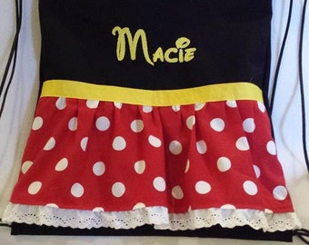Disney Inspired drawstring back pack/Minnie Mouse/ cinch bag/ polka dot