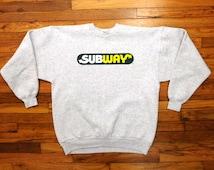 Vintage SUBWAY Sandwich Heather Gray Puffy Print Logo Foot Long Sub Fanboy Long Sleeve Pullover 90s Hanes Sweatshirt / Fit Men LG or Lady XL
