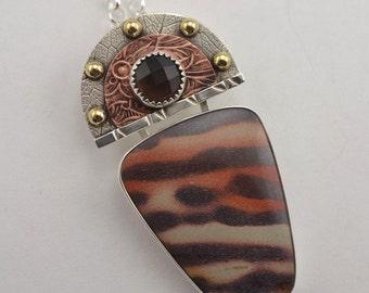 Jasper Pendant - Smokey Quartz Pendant - Metalsmith Pendant - Mixed Metal Jewelry
