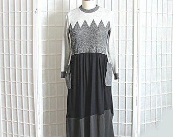 Upcycled Dress in Greys and Black with Pockets Recycled Clothing Size Medium