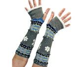 Gray Arm Warmers, Upcycled Clothing, Fingerless Gloves, Embroidery Arm Warmers, OOAK Handmade Arm Warmers, Eco Friendly Accessories