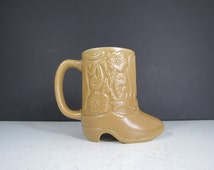 Vintage Boot Shaped Mug // Retro Cowboy Cowgirl Western Boot Ceramic Coffee Cup Pen Pencil Holder Southwestern Boho Style Ceramarte Brazil