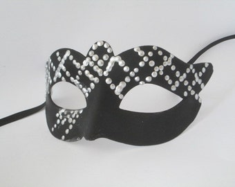 Couples Masquerade Mask Sexy Black and Silver Hand decorated Domino