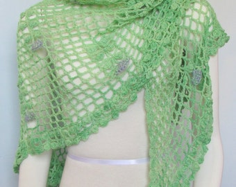 Green floral triangle shawl  crocheted scarf lace wrap handmade