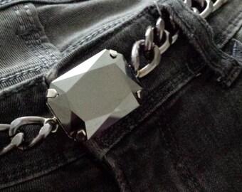 XL Grey mirrored Swarovski crystal gunmetal chain Belt