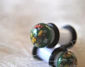 Japanese Glass 4g Plugs, Vintage Glass Gauge Earrings, Japanese NOS Gauge Earrings 4 Gauge, Unique Antique Stock Body Jewelry, White Green