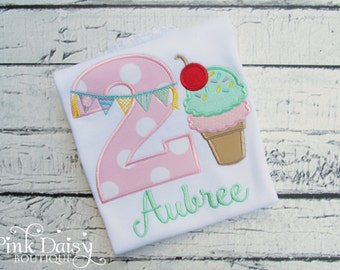Birthday Shirt - Ice Cream Parlor Pink and Mint Green Birthday Shirt - Ice Cream Cone - Ice Cream Sundae - Ice Cream Party - Sweet to Be Two