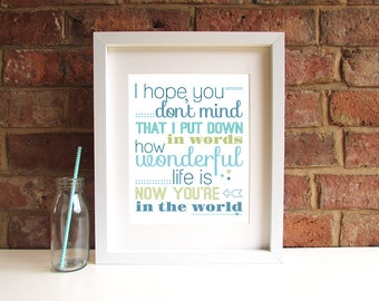 Your Song - Wonderful - 8x10 inch lyric print - Elton John - Ellie Goulding