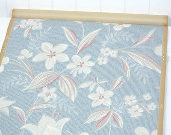 Partial Roll of Vintage Wallpaper - Floral Wallpaper with White and Pink Flowers on Blue, 6 yard roll