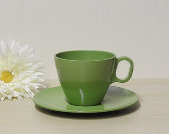 Melmac Cup & Saucer, Retro Boonton Collection, Somerset Green Melamine, Vintage 1970s Retro Kitchen