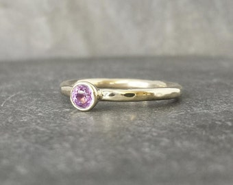 Pinkie -  9ct 9k mid pink sapphire bezel set ring, alternative engagement ring, yellow gold skinny band UK