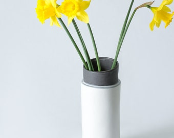 "9.25"" Cylindrical Matte White, Grey and Black Stoneware / Porcelain Vase /  Hand built - Contemporary unique gift - Ceramic Pottery - Modern"