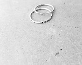 Carved Tribal Stacking Ring Set / sterling silver / oxidized line design / simple layering jewelry