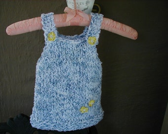 Baby Sun Dress, Blue Baby Dress, Hand Knit Baby Dress, Baby Jumper