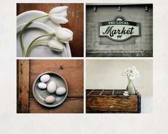 Kitchen Photography Set of 4, Farmhouse Kitchen Art, Rustic Photo Set, Country Wall Decor, Fine Art Print Set -  SAVE 20%