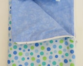American Girl Doll Clothes, Doll Sleeping Bag with Pillow, Zippered Sleeping Bag, Doll Blue Polka Dotted Sleeping Bag