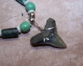 "SHARKS TOOTH Necklace from Miocene Period, Calvert Cliffs,MD,Authentic.Beaded 18"" necklace. Found it myself.-*Really Old!*   22.00"