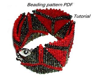 Bracelet triangles. Beading Tutorial. Beading pattern PDF. Instant download.
