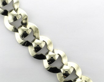 Art Deco Style White Metal Bracelet Signed Marino; Fun Bracelet; Everyday Bracelet