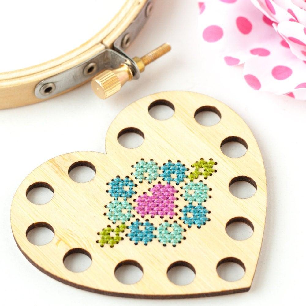 Heart thread holder diy kit embroidery floss organizer