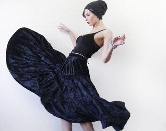 GIORGIO GRATI Vintage black velvet ankle length tiered flared circle maxi skirt L-Xl