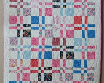Pink Patchwork Baby Girl Quilt - Disappearing Four-Patch Block
