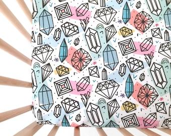 Crib Sheet Pretty Jewels. Fitted Crib Sheet. Baby Bedding. Crib Bedding. Minky Crib Sheet. Crib Sheets. Pink Crib Sheet.