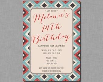 Tribal Birthday Invitation girl teen tween adult FC37 Digital or Printed