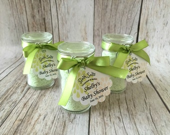 10 Cucumber Melon bath salt favors in glass bottles with personalized tags, bridal shower, baby shower, wedding favors.