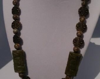 Carved Korean Jade Necklace