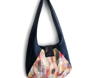 Painted Purse Hobo Bag Upcycled Denim and Leather Handmade Unique