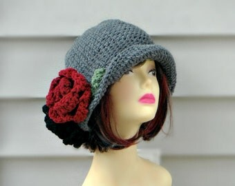 Crochet Flapper Hat, Beanie With Flowers, Hair Accessories, Winter Hat, Womes Crochet Hat
