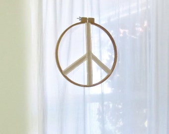 Peace Sign Window Hanging Wall Hanging Holiday Decoration Vintage Embroidery Raw Silk Peace Sign