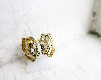 Antique Butterfly Earrings with 6 Rough Cut Diamonds in 8K Gold from the Philippines