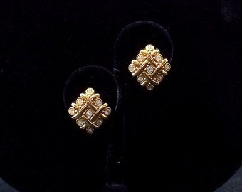 Woven Gold and Rhinestone Clip On Earrings