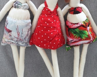 SALE! Beach Ragdolls: Handmade from Vintage and Recycled Materials, Cloth Doll, Bikini Doll, Swim, Swimming costume, Holiday doll, Vacation