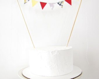 Rad Dad Cake Topper - Fabric Bunting, Wedding, Birthday Party, Baby Shower Decor - red yellow grey plaid polka dots Fathers Day preppy