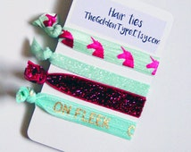 Fun creaseless hair ties with unicorns, glitter, and on fleck elastic ties. Bracelet stocking stuffers, small gifts for girls