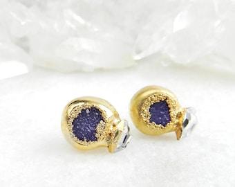 ON SALE druzy earrings, druzy stud earrings, druzy studs, herkimer diamonds, diamond earrings , gold earrings