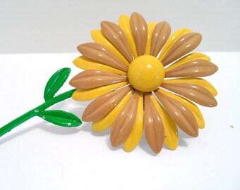 Vintage Yellow and Tan Enamel Metal Flower Brooch Pin Large Vintage Enamel Metal Flower Pins