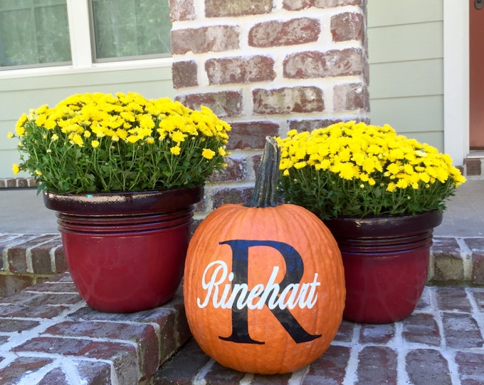 Personalized Pumpkin Decals, Fall Decorations, Fall Wedding, Pumpkin Monogram, Personalized Pumpkin Decal, Monogrammed Home Decor, DIY