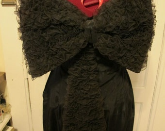 1950s Black Taffeta Strapless Gown with HUGE ruffled bow and train.  sz s W26