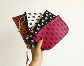 Printed leather wallet, Small Leather Pouch, Leather Wallet, Small clutch bag, Minimalistic, Printed pouch, Geometry