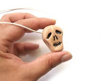 Skull necklace, Ceramic skull, Creepy skull, Ceramic pendant skull, Humman skull, Halloween skull necklase, Little skull, Mini skull