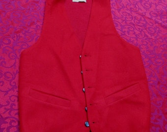 vintage 1950's red wool vest size small man or womans