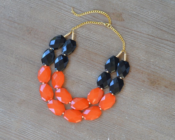 Orange and Black Statement Necklace - Oklahoma State Necklace - Oregon State Necklace - Chunky Black Orange Bead Necklace - Game Day